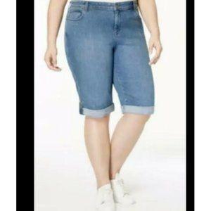 Style & Co Skimmer Denim Shorts Cuffed Medium Wash